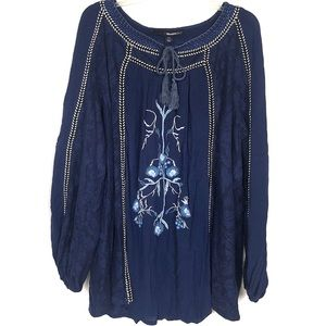 DENIM 24/7 lace embroidered boho tunic top 22W
